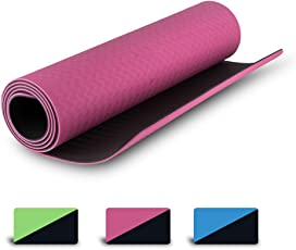 OXOFIT Premium High-Quality TPE Yoga Mat | 6 feet X 2 Feet, 6mm thickness | Eco-friendly, Dual color , Odour-free, Anti Slip & Quick Absorbing | Yoga mat for men, women and everyone | Comes with carry bag & strap | Can be used as Pilates Mat, Exercise Mat & Meditation Mat |
