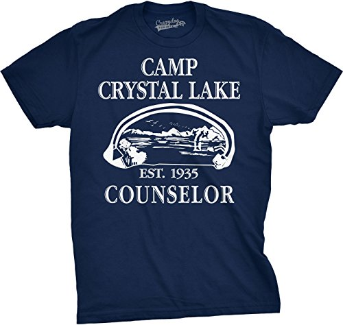 Crazy Dog Tshirts - Mens Camp Crystal Lake T Shirt Funny Shirts Camping Vintage Horror Novelty Tees (Navy) XXL - Herren - XXL (Zitate über Horror-filme)