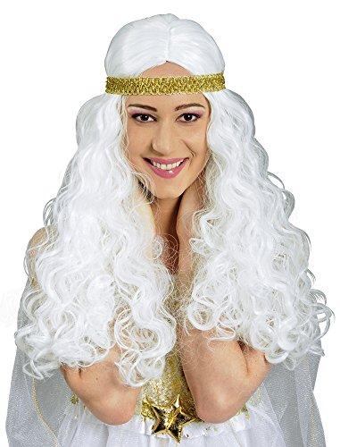 Weiße Engelshaar Perücke - Wunderschönes Accessoire zum Kostüm als Engel, Göttin oder gute Fee (Himmlische Göttin Kostüme)