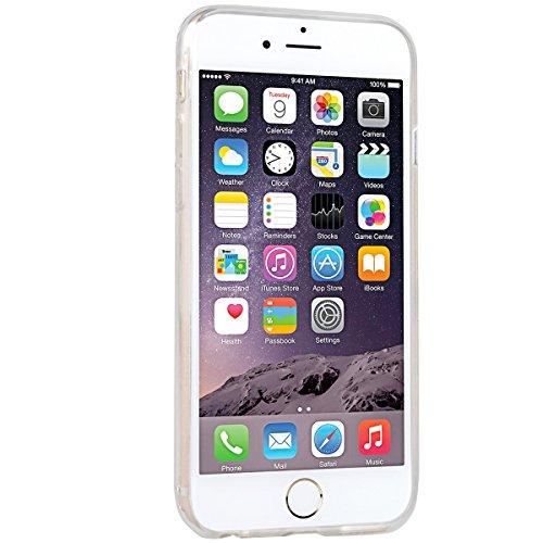 iPhone 6 / iPhone 6S Hülle, Yokata Liebe Herzen Motiv Klar Transparent Durchsichtig Weich TPU Silikon Gel Glitzer Bling Case Cover mit Bumper Schutzhülle Dünne Handyhülle + 1 X Stylus Pen - Stern Stern