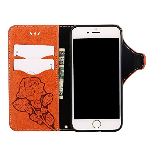 Custodia iPhone 6 / 6S, COOSTOREEU Retro Embossed Roses Magnetic Slotted Wallet Case+ Cinghia di Polso Smontabile Progettazione per Apple iPhone 6 / 6S, Verde chiaro Arancia