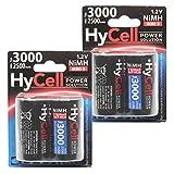 HyCell wiederaufladbar Akku Batterie Mono D Typ 3000mAh NiMH ohne Memory-Effekt 4er Pack Photo Fotoakku Digitalkamera Spielzeug-Akku