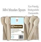 WoodU Mini-Holzlöffel - 4,5-Zoll-Länge - umweltfreundlich biologisch abbaubar (100 Stück) - ideal für Kunsthandwerk, Zuckerpeeling, Verkostung und Probenahme
