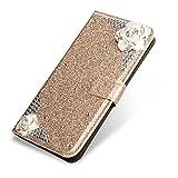SevenPanda Luxus Bling PU Leder Mappen Kasten für P9 Lite 2017, Diamant Glitter 3D Kamelie Blumen Juwelen Magnetischer Verschluss Flip Folio Stand Kasten für Huawei P8 Lite 2017 - Gold -