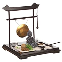 Idea Regalo - Set giardino ZEN - Buddha su vassoio in legno con gong, portacandele, fiori e piante, sabbia e ciottoli ecc...
