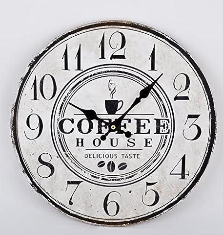 Wanduhr Coffee House Design Vintage Holz 34x34cm schwarz weiss Uhr