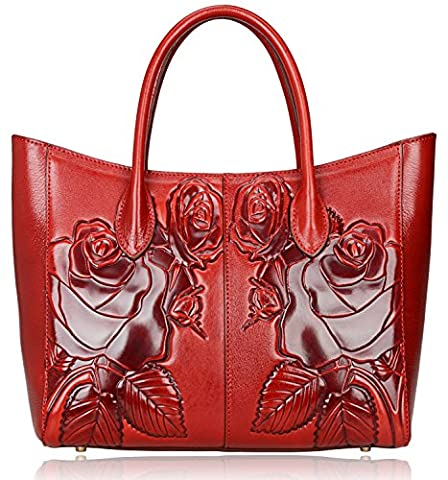 PIJUSHI Designer Women's Floral Leather Tote Shoulder Handbags (Red)