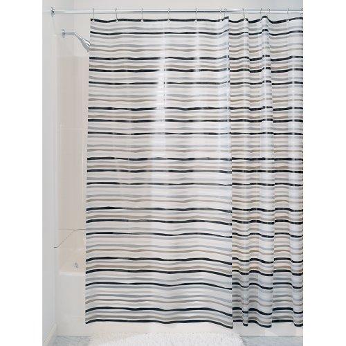 InterDesign Stripz Schimmel-/Spakresistenter Wasserdichter Duschvorhang aus PEVA, 180 x 200 cm, schwarz/grau