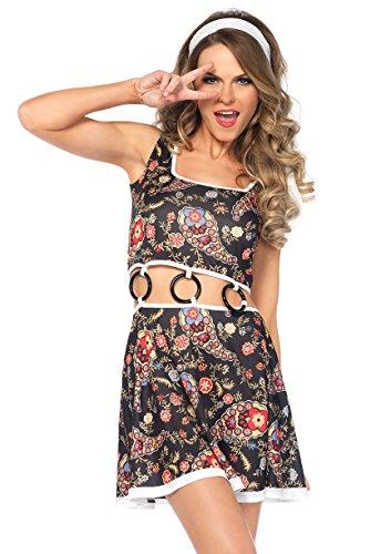 Girls Groovy Kostüm - Leg Avenue 85544 2 teilig Groovy GoGo Girl Set, Damen Karneval Kostüm Fasching, M/L, mehrfabig