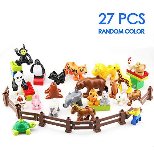 Zoo Tiere Bauernhof Bausteine Zubehör Spielzeug Set für Kinder Duplo mit EIN Weihnachten Geschenktasche, 27 Stück