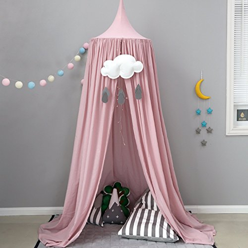 Baby Betthimmel Bett-Baldachin Baumwolle Dekoration Baldachin für Kinderzimmer Babybett Insekt Moskitonetz Schutz Indoor Outdoor Playing Reading Zelt Höhe 240cm Grau Rosa (Rosa)