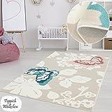 Kinderzimmer Teppich Mädchen Jungen | Fröhliche Schmetterling Sterne Blumen Motive fürs Jugendzimmer | Öko Tex 100 Schadstoffgeprüft (Schmetterlinge - 140 x 200 cm)