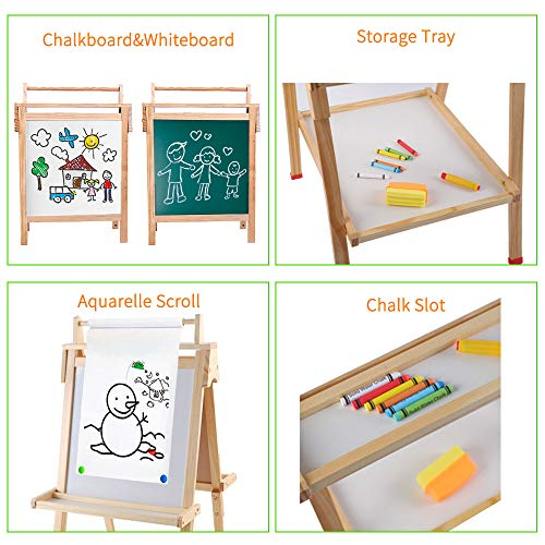 Arkmiido Wooden Art Easel for Kids, Double-Sided Magnetic Drawing Board,Whiteboard & Chalkboard Easel with Eraser & Pack of Chalks and Cognitive Magnetic Stickers for 2+ Years.
