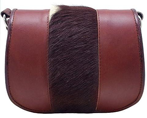Koson Leather Leder braun Pelz handgefertigte Schulranzen Schultertasche Kuriertasche