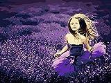 XIAOBAOZISZYH Lavendel Mädchen Digitales Kit Acryl DIY Digitales Ölgemälde Auf Leinwand Wandbild Für Wohnzimmer Geschenk.40 × 50 cm