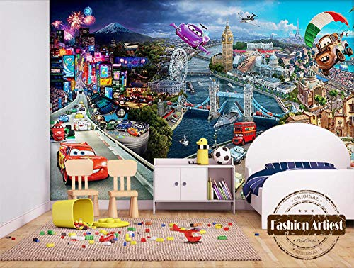 erte Hintergrund 3D Kinder Cartoon Auto Tapete Lenkrad Blick auf die Stadt Kinder Schlafzimmer Wohnzimmer 366cm (B) x 254cm ()
