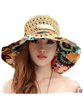 La Moda De Paja Señoras Verano Salvaje Playa Viajes UV Grandes Marquesinas Sombrero De Playa Sol Sombrero Para...