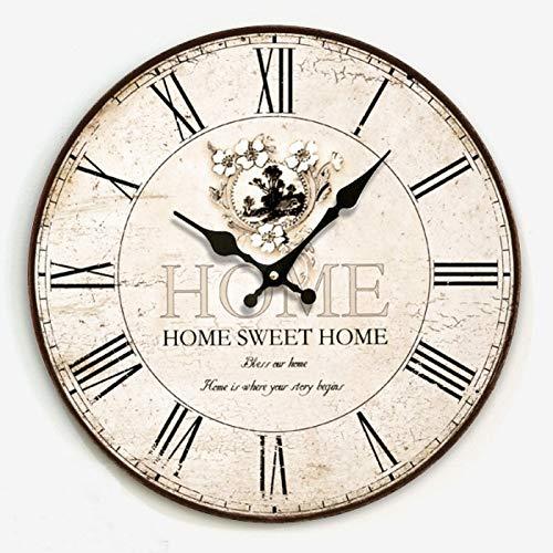 hr, Stille Runde Dekorative Hölzerne Mode Elektronische MDF Rahmenlose Mute Uhren Home Cafe Bar-e 12 Inches ()