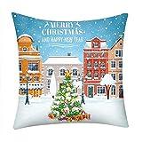 Fenverk KissenbezüGe Super Weich GemüTlich FröHliche Weihnachten Leinen Sofa Kissenbezug Haus Dekoration Fall Weihnachtsmann Claus Schneemann Bett(H)