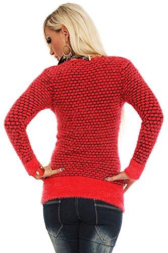 Fashion4Young à manches longues pour femme blanc/gris bleuté/jaune soufre douillet robe pull homme disponible en 6 coloris, taille 36/38 - Corail