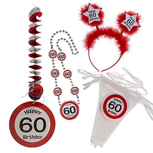 Preis am Stiel Geschenkset Happy Birthday ''60'' Girlande Spirale Halskette Haarreif | 60.Geburtstag | Geburtstagsset