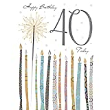 Tracks Publishing Riesen Grußkarte 40 Geburtstag Karte Glitzer Druck Wunderkerze A4