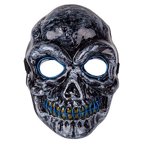 MeOkey Halloween EL Maske LED Leuchten Skull Gesichtsmaske Skelett Mask mit Draht blinkend Licht im Dunkel glühen für Cosplay Karneval Kostüm Party (Kostüm Mit Led-leuchten)