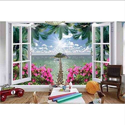 Groß Tapete Für Wände 3 D Stereoskopische 3D-Wandbild Coco Seascape Red Floral Stein Weg Fototapete Wohnzimmer Schlafzimmer-400X280CM - Coco Stein