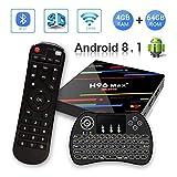 【Android 8.1♥4GB + 64GB】H96 MAX+ 4GB+64GB RK3328 Quad-Core 64bit Ultra HD Smart TV BOX,Support 2.4G/5G Dual Wifi /3D/4k/USB3.0 / Tastiera retroilluminata wireless