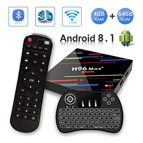 【Android 8.1♥4GB + 64GB】H96 MAX+ 4GB+64GB RK3328 Quad-Core 64bit Ultra HD Smart TV BOX,Support...