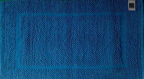 Zucchi solotuo. tappeto bagno tessuto a mano da 1550 gr/m2 cm. 60x100 col. 1318 ottanio. 100% cotone.