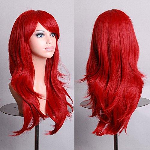 Tenflyer® Frauen Cosplay lockige Perücken mit Pony langes gelocktes Haar Fluffy Gelockt (Haar Lockiges Rotes Perücke)