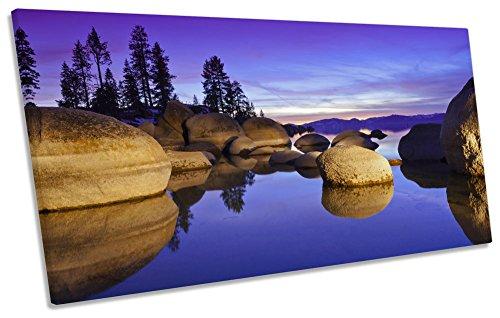 Lake Tahoe Sunset lila Box Rahmen Leinwand Kunstdruck Panorama Bild, 120cm wide x 60cm high