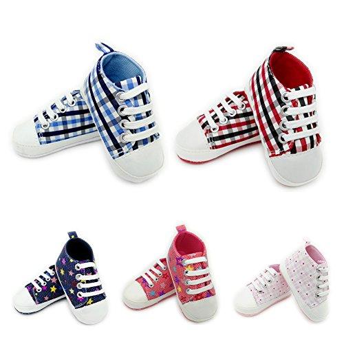 Baby Kinder Schuhe Weiche Rutschfester Sohle Segeltuch-Turnschuh Junge Mädchen Krabbelschuhe Rosa