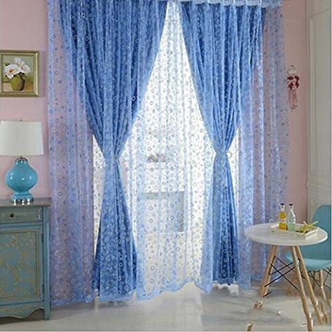 Burbuja linda Círculo Impreso Tul Telas Bella Sheer Panel de muro cortina-Blue