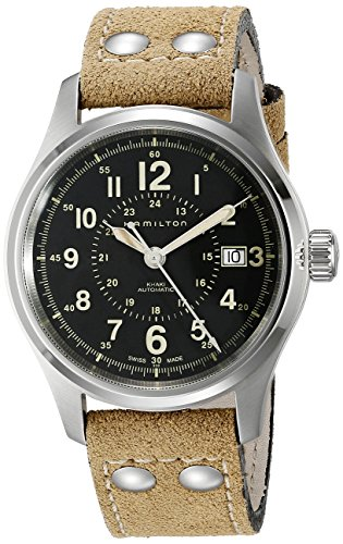 HAMILTON MEN'S 40MM GENUINE LEATHER BAND STEEL CASE AUTOMATIC WATCH H70595593