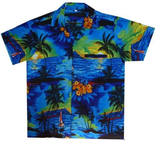 V.H.O. Funky Hawaiihemd, Kurzarm, Surf, blau, 4XL