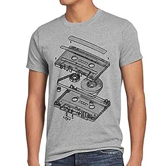 style3 DJ Tape Herren T-Shirt kassette 3D turntable retro, Größe:S;Farbe:Grau meliert