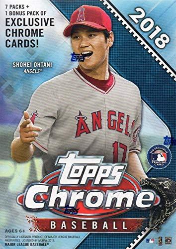 2018 Topps Chrome MLB Baseball-Serie ungeöffnet Blaster Box mit 4 Blaster exklusiv grünen Sepia-Refraktor-Karten und eine Chance für Rookie-Karten von Shohei Otani, Ronald Acuna und mehr