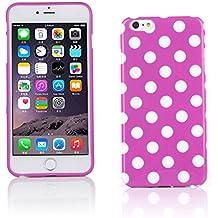 "Kit Me Out ES Funda de gel TPU para Apple iPhone 6 Plus 5.5"" pulgadas - Violeta, Blanco Lunares"