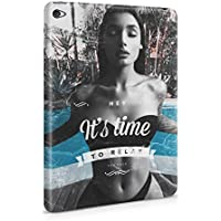 Hey It's Time To Relax Sexy Naked Brunette Girl Poolside Hard Plastic Protective Snap On Case Cover For Apple iPad Mini 4 - Brunette Girl