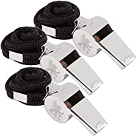 H&S® 3 Whistles - Referee Whistle - Sports Whistle Metal Coach Whistle with Lanyard for Football Stainless Steel