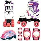 Sk8 Zone Girls Pink White Quad Skates Padded Kids Roller Boots Safety Pads Helmet Childrens Skate Set (Medium: 13-3 (31.5-34.5 EU))
