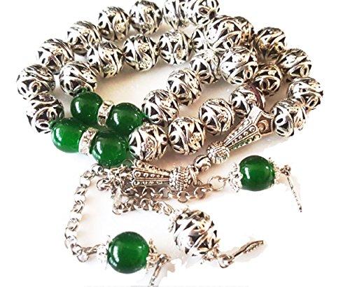 Prestige Allahkette Muslim Tasbeeh Tesbih Tasbih 33 Perlen 10mm und Silber Hohl Design (Green Hollow Silver (6))