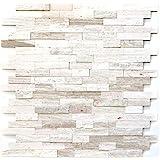 Mozaïektegel zelfklevend marmer natuursteen grijswit natuursteen wit hout MOS200-0120