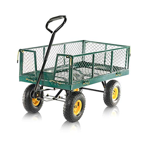 Aufun Gartenwagen Gartenkarre bis 300 kg Handwagen Ergonomisch Transportwagen mit Großer Aufblasbarer Gummireifen Kippwagen im Metall für Geräte, Garden - Typ C1