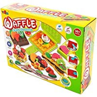 Feelnet 3D Rubber Children's Color Clay Toy DIY Model Clay Color Clay Simulation Food Waffle Color mud Mold Set 3C Certification Security (Color Clay Mold Set)