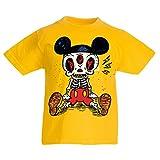T-shirt pour enfants Squelette d'une souris (12-13 years Jaune Multicolore)