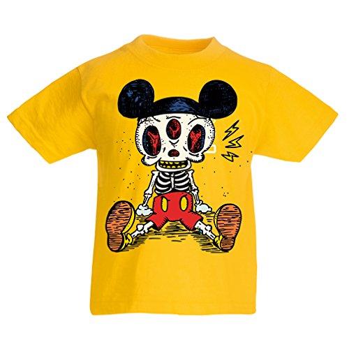 Kinder T-Shirt Skelett Einer Maus (7-8 Years Gelb ()