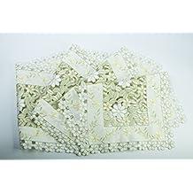 Sin Marca 41.5cmx28cm mantel bordado calado de pequeñas flores blancas y amarillas tapicería para boda casa (4 unidades)
